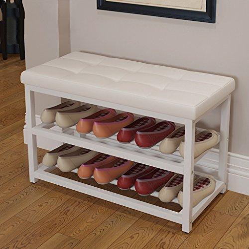 ZAY Schuh Lagerregal mit Sitzbank Weiß Leder Regal Veranstalter Halter für Hallen Schlafzimmer 8 Paar Schuhe 70/90 * 34 * 45 cm (größe : 70cm) -