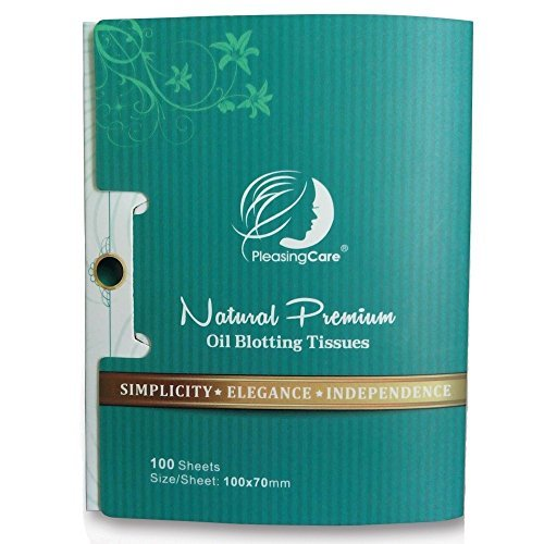 Natural Bamboo Charcoal Oil Absorbing Tissues - 100 Counts, Large Size Oil Blotting Paper, Easy Take Out Design - Premium Quality Face Blotting Sheets - Oily Facial Skin, Acne Prone Skin Daily Use, Stay up or Party Must Have! (1 Pack)