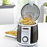 GOURMETmaxx 08345 Multi-Fritteuse klein 840W mit 1L Ölvolumen, Temperatur Regler bis 190C° - Leicht zu reinigen mit Fettdunstfilter