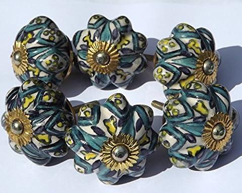 Lot de 6 grandes fleurs Blanc ancien avec motifs Moghul Garnitures en laiton Bouton de porte de placard en céramique pour tiroir avec poignée en porcelaine Style shabby chic