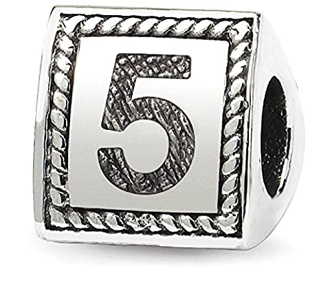 IceCarats 925 Sterling Silver Charm For Bracelet Number 5 Triangle Block Bead Alphabet Numeral