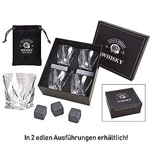 WOMA 8 Whisky Steine + 4 Whiskey Gläser + Samtbeutel in Edler Geschenkbox - Whiskeysteine aus 100% natürlichem Basalt - Geschmacksneutral & Kühlung ohne Verwässern für Whiskey, Wodka, Gin & Mehr