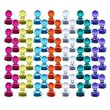 60 Stücke Farbige Magnete, Aitsite Bunte Magnetische Map Pins und Notizbuch, Transparente Whiteboard Magnete, Tafelmagnete in 7 Farben, Magnet Push Pins für Kühlschränke, Magnettafel und Whiteboards Magenesis®