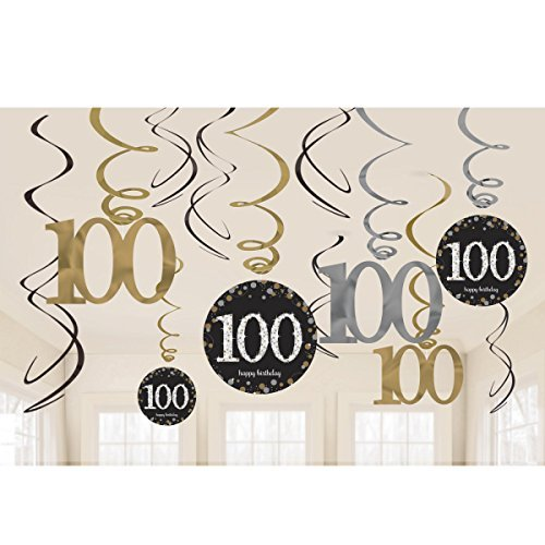 Amscan International 9901739 Gold Celebration 100. Swirl Dekoration Kit Preisvergleich