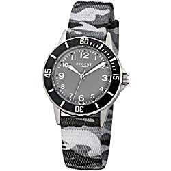 Regent Children's Watch Elegant Analogue Fabric Strap Watch Grey Black Camouflage Quartz Dial Black URF941