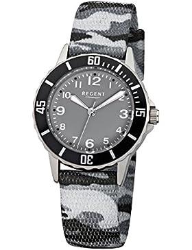 Regent Kinder-Armbanduhr Elegant Analog Textil-Armband grau schwarz camouflage Quarz-Uhr Ziffernblatt schwarz...