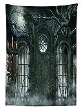 Yeuss Horror Hausdeko-Tischdecke, Mond, Halloween, antikes historisches Tor, Gothic, Kulissen, Fiction-Blick, Esszimmer, Küche, rechteckig, Hunter Green, 60