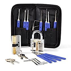 Opard Lockpicking Set,17-Teiliges Dietrich Set mit 2 Transparentem Trainingsschlössern für Schlosserei, Anfänger und Profisrleicht,Polizei oder Hobby