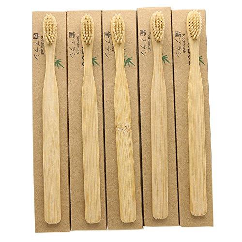 5er-Pack N-amboo Bambus-Zahnbürsten, umweltfreundlich, biologisch abbaubar, Bio-Zahnbürste, natürliche Zahnaufhellung, weiche, beige Nylon-Borsten