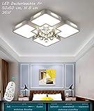 x8232Plafonnier LED avec télécommande est la couleur de la lumière de la couronne/luminosité variable a + LED Luminaire de salon lampe suspension plafonnier plafond Spot Plafonnier LED, Metallrahmen, Weiß Acrylschirm, X8232-50x50 cm, LED Leuchtmittel ink