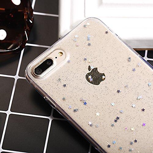 Coque iPhone 7 Plus,Étui iPhone 7 Plus,iPhone 7 Plus Case,ikasus® Coque iPhone 7 Plus Silicone Étui Housse Paillette étoile Téléphone Couverture TPU avec Modèle de diamant brillant paillettes bling br Claire A