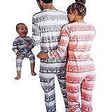 Weihnachten Schlafanzug Familien Outfit Mutter Vater Kind Baby Pajama Langarm Nachtwäsche Print Sleepwear Overall Jumpsuit Casual Zipper Langarmshirt Pullover von Innerternet
