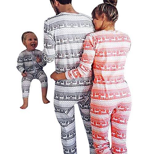 Weihnachten Schlafanzug Familien Outfit Mutter Vater Kind Baby Pajama Langarm Nachtwäsche Print Sleepwear Overall Jumpsuit Casual Zipper Langarmshirt Pullover von ()