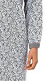 NORMANN WÄSCHEFABRIK Damen Nachthemd Langarm mit Flowerprint und Bündchen 105 cm Länge – auch in Übergrössen 281 210 90 100, Farbe:grau, Größe2:48/50