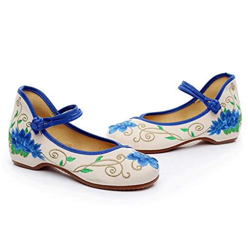 HAIPENG Stivaletti Scarpe Di Stoffa Primavera E Autunno Fiori Da Ricamo Da Donna Blu ( Colore : Beige , dimensioni : EU35/UK3.5/L:220mm ) Beige