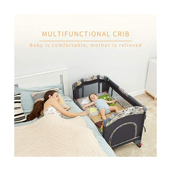 Hh001 Child Cot Child Bed Travel Cot Travel Cot With Mattress Included Child Crib Cot Mattress Folding Crib Cradle Bed Child Play Bed And Childlike Gifts (Color : DARK GRAY, Size : B)  【Crib material】: This baby crib has no paint, no formaldehyde, no harmful substances to the baby, and gives the baby a comfortable sleeping environment; the overall use of high-quality TD fabric is soft and comfortable; the corners are made of environmentally-friendly plastic materials. It is non-toxic and will not hurt the baby; the bracket is made of high-quality alloy material, which is durable and bears heavy weight. 【Crib Portable Design】: This crib has a folding design, easy to carry, travel, go to a friend's house to carry; there is a roller design under the bed, easy to move; when you are at home, if you do not need it, you It can be folded up without taking up space. 【Crib transparent mesh design】: The crib is surrounded by a transparent mesh design, which is not only refreshing and breathable, but also does not block your view, allowing you to observe your baby's every move while lying in bed. 3