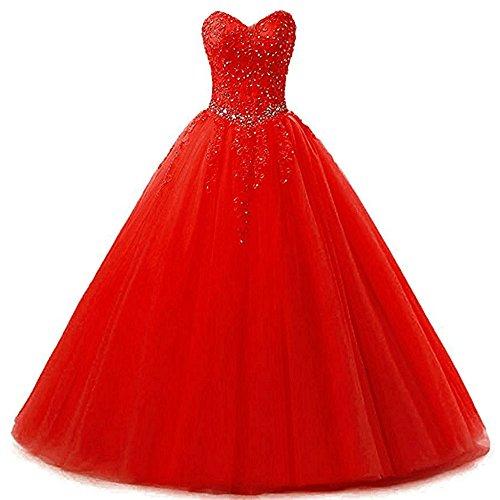 Zorayi Damen Liebsten Lang Tüll Formellen Abendkleid Ballkleid Festkleider Rot Größe 46