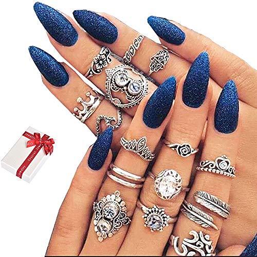 Jurxy 16 Stück Knöchelringe Set Böhmischen Stapeln Ringe Frauen Böhmische Weinlese Kristall Legierung Finger Ringe Orientalisches über Knöchel Rings für Damen Mädchen Frauen - Silber - Antik-ring-set