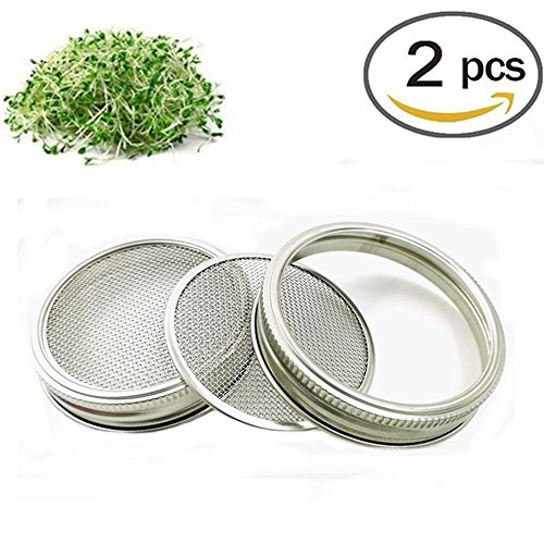 Rostfreier Stahl Sprouting Jar Strainer Lid - Fits Wide Mouth Mason Jars For Growing Sprouts…