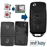 Auto Klapp Schlüssel Funk Fernbedienung Repair Reparatur Set 2X 2 Tasten Tastenfeld + 2X Mikrotaster für VW Seat Skoda