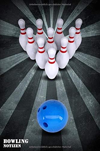 BOWLING NOTIZEN PUNKTRASTER NOTIZBUCH: 6x9 Zoll (ähnlich A5 Format) Merkbuch mit cremefarbenen Seiten und Bowling Kegel und Kugel Cover tolle Geschenkidee für Männer Frauen Kinder