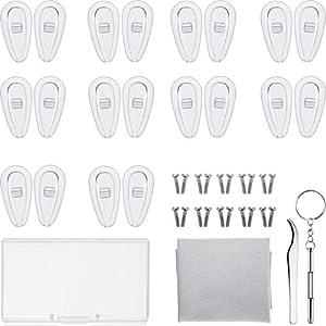 Brillen Reparatur Set 10 Paar Luftkammer Nasenpads Silikon Schraubbrillen Nasenpads mit Schrauben Pinzette und Reinigungstuch