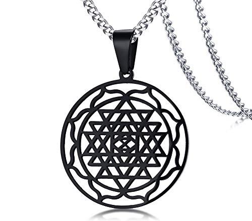 PJ JEWELLERY Schwarz Sri Yantra Anhänger Hinduismus Symbol Edelstahl Schmuck Sri Chakra Halskette, Amulett Talisman Charm Sign