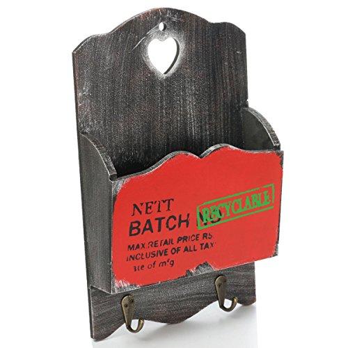 Bluelover Zakka Vintage Holz Post Brief Veranstalter Inhaber Hängen Wichtige Rack Wand Dekor Lagerung Möbel - Rot - Veranstalter Wand