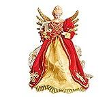 Puntale per albero di Natale a forma di angelo–rosso e oro angelo con arpa–oro ali di metallo