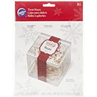 Wilton 415-2612 3 Count Christmas Holiday Sweet Swap Clear Treat Boxes