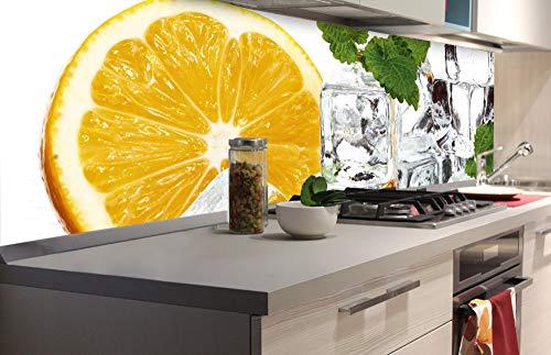 DIMEX LINE Küchenrückwand Folie selbstklebend Zitrone UND EIS 180 x 60 cm   Klebefolie - Dekofolie - Spritzschutz für Küche   Premium QUALITÄT