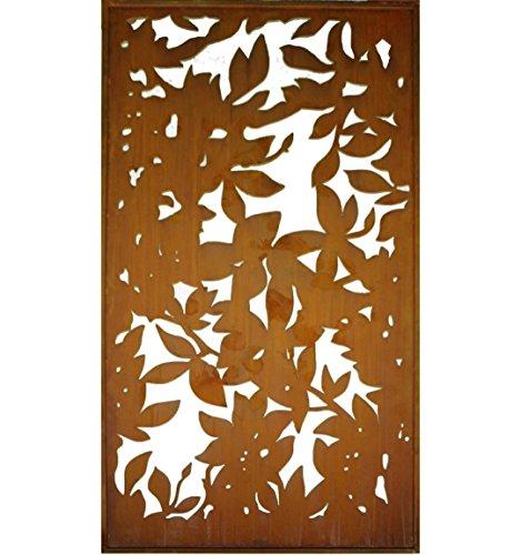 Metallmichl Edelrost Blattwerk Paravent 200 cm hoch 100 cm breit Sichtschutz