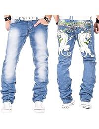 e4a33f48dda4 Kosmo Lupo Herren Jeans Hose Clubwear Verwaschen Denim Vintage Slim Blau W29  - W38