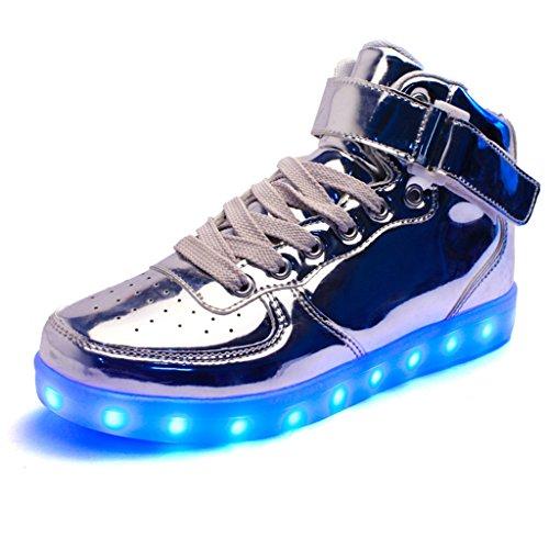 DoGeek Scarpe uomo Adulto Unisex Led Luminosi Sneakers Con Le Luci Accendono Scarpe Sportive Silver