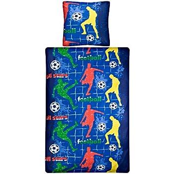 aminata kids bettw sche 135x200 cm kinder jungen fu ball baumwolle rei verschluss blau rot. Black Bedroom Furniture Sets. Home Design Ideas