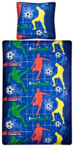 Aminata Kids – Bettwäsche 135x200 cm Kinder Jungen Fußball Baumwolle + Reißverschluss Blau Rot Grün Gelb Fußballspieler Ball Tor Kinderbettwäsche 2-teiliges Bettwäscheset Jungs Bettbezug Ganzjahr Fußball-zeichen