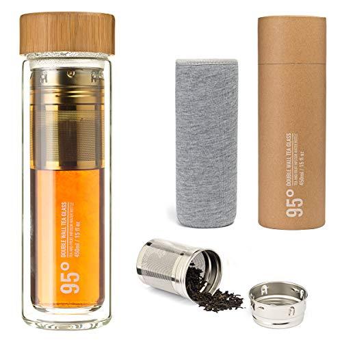 95 Grad doppelwandige Thermosflasche Teeflasche mit Teebereiter Sieb 450 ml Trinkflasche to go mit Schutzhülle