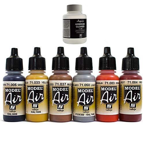 Aerografo colori 6X 17ML Cleaner 85ML Vallejo Model Air colorato set di colori Airbrush colori