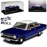alles-meine GmbH Opel Rekord A 2 türige Limousine Blau mit Weissem Dach 1963-1965 Mit Sockel und Vitrine 1/43 Atlas Modell Auto mit individiuellem Wunschkennzeichen