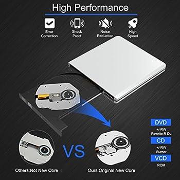 Leshp Externes Cd Dvd Laufwerk, Usb3.0 Dvd-rw Dvdcd Brenner Neu Chip Tragbar Für Laptops Und Desktops Notebook Unterstützt Windows 1087vistaxp, Lunix, Mac Os Macbook Proair 5