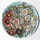 Mauve, fleurs - Assiette en céramique faite main, dimensions diamètre cm...