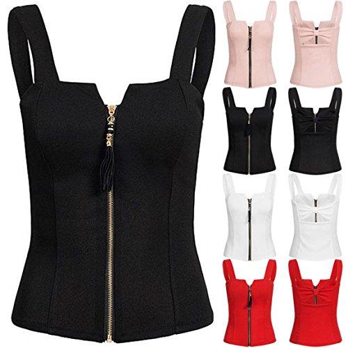 Bellelove Femmes Camis Dames Été Débardeur Mode sans Manches Élégant Mince Camisole Coton Débardeur T-Shirt Haut (UE 34 / Asie S, Blanc)