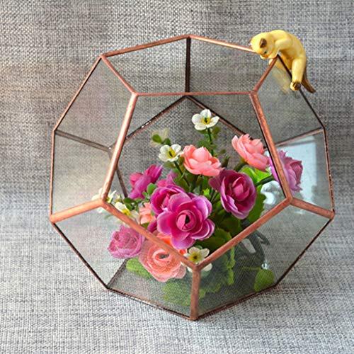 Flower Pots & Planters - Glass Geometric Terrarium Box Tabletop Succulent Plant Planter Case Home Decor Gift Wedding Supply - Candle Teardrop Empty Plastic Terrarium Table Bronze Planter B