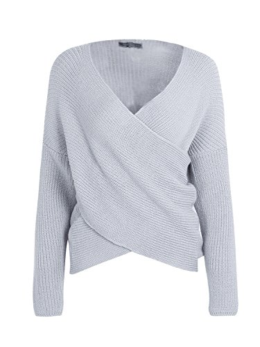 Simplee Apparel Autunno Spesso Wrap anteriore con scollo a V Stretch maglione ponticello delle donne Gray 1