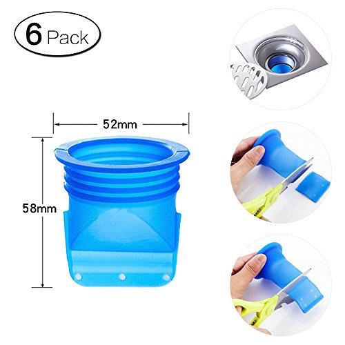 Zhi Jin verstellbar Silikon Spüle Bodenablauf Trap Abläufe Rückflussverhinderer für Rohre Badezimmer WC Balkon 6Stück B-52*58mm (Blatt Sealer)