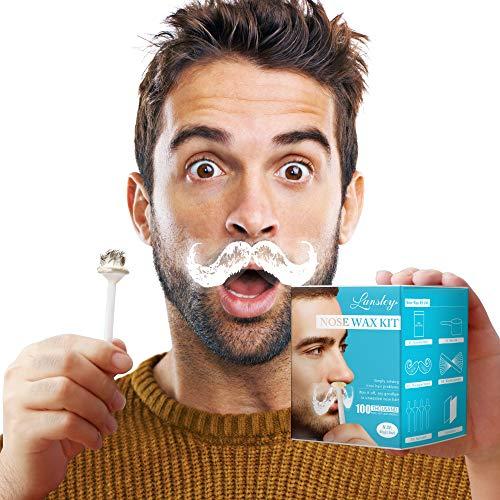 Nasen-kit (Nose Wax LANSLEY Nasenwachs Haarentferner Set für Zuhause Mann Frau 80g mit 20 Wachs Applicator 10 Wachs Holzspatel und Schnurrbart Stencils)