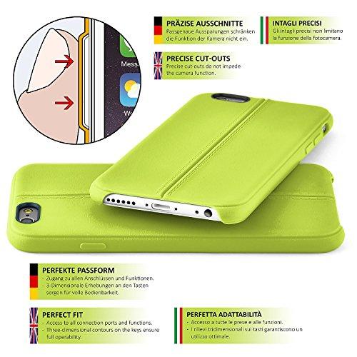 Premium Handy Tasche für iPhone 5 / 5S / SE | Silikon Hülle in eleganter Leder Optik | Handy Schutz Case von OneFlow | Back Cover in Schwarz LIME