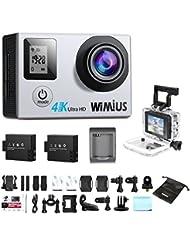 Camera Sport, WiMiUS Q4 Action Cam 4k Full HD 16MP WIFI Etanche 40M Caméra de Sport Embarquée 4k et kit d'accessoires (Argent)
