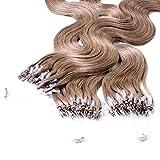 hair2heart 150 x Microring Loop Extensions aus Echthaar, 60cm, 0,5g Strähnen, gewellt - Farbe 14 dunkelblond