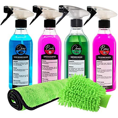 Detailify Autopflegeset Taily All in One Autoreinigungsset Autowaschset Innenreiniger Außenpflege Felgenreiniger Waschhandschuh Lack Detailing Set